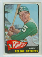 1965 OPC Baseball 87 Nelson Mathews Kansas City Athletics Very Good to Excellent
