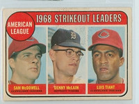 1969 OPC Baseball 11 AL Strikeout Leaders Very Good to Excellent