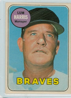 1969 OPC Baseball 196 Lum Harris Atlanta Braves Excellent