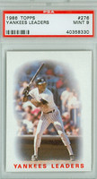 1986 Topps Baseball 276 Yankees Leaders PSA 9 Mint