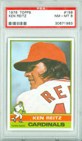 1976 Topps Baseball 158 Ken Reitz St. Louis Cardinals PSA 8 Near Mint to Mint