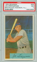 1954 Bowman Baseball 28 Jim Greengrass NJ  Cincinnati Reds PSA 7 Near Mint