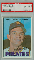 1967 Topps Baseball 10 Matty Alou Pittsburgh Pirates PSA 6 Excellent to Mint