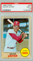 1968 Topps Baseball 25 Julian Javier St. Louis Cardinals PSA 7.5 Near Mint Plus