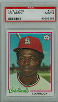 1978 Topps Baseball 170 Lou Brock St. Louis Cardinals PSA 9 Mint