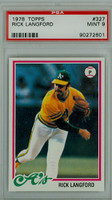1978 Topps Baseball 327 Rick Langford Oakland Athletics PSA 9 Mint