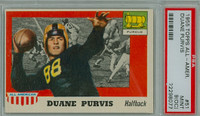 1955 Topps AA Football 51 Duane Purvis Single Print  Purdue PSA 9 OC