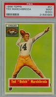 1956 Topps Football 51 Ted Marchibroda Pittsburgh Steelers PSA 9 OC