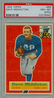 1956 Topps Football 68 Dave Middleton Detroit Lions PSA 8 PD