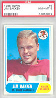 1968 Topps Football 8 Jim Bakken St. Louis Cardinals PSA 8 Near Mint to Mint