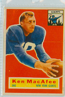1956 Topps Football 65 Ken MacAfee New York Giants Very Good to Excellent