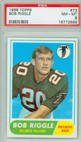 1968 Topps Football 73 Bob Riggle Atlanta Falcons PSA 8 Near Mint to Mint