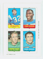 1969 Topps Football 4-1s Allison|Buncom|Emanuel|Sauer Near-Mint