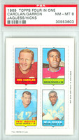 1969 Topps Football 4-1s Carolan|Garron|Hicks|Jacques PSA 8 Near Mint to Mint [30553603]