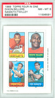 1969 Topps Football 4-1s Dixon|Sellers|Namath|Twilley PSA 8 Near Mint to Mint [11596591]