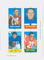 1969 Topps Football 4-1s Johnson|Katcavage|Lewis|Triplett WHITE  Near-Mint