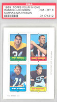 1969 Topps Football 4-1s Russell|R. Johnson|Matheson|Karras PSA 8 Near Mint to Mint