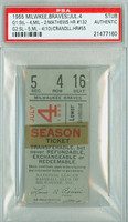 1955 Milwaukee Braves Ticket Stub vs St. Louis Cardinals Eddie Mathews Career HR #132 Del Crandall Career HR #55  - July 4, 1955 [F-G]