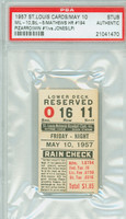 1957 St. Louis Cardinals Ticket Stub vs Milwaukee Braves Eddie Mathews Career HR #194 Juan Pizarro Career 1st Career Win  - May 10, 1957 [EX]