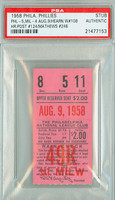 1958 Philadelphia Phillies Ticket Stub vs Milwaukee Braves Eddie Mathews Career HR #246 - August 9, 1958 [NMT]