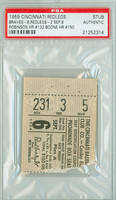 1959 Cincinnati Reds Ticket Stub vs Milwaukee Braves Frank Robinson Career HR #132 Ray Boone Career HR #150  - September 6, 1959 [G-VG]