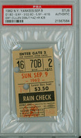 1962 New York Yankees Ticket Stub vs Boston Red Sox GM 1: Carl Yastrzemski Career HR #29 Jack Cullen made his ML Debut  - September 9, 1962