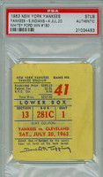 1963 New York Yankees Ticket Stub vs Cleveland Indians Whitey Ford Career Win #190 - July 20, 1963