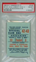 1963 New York Yankees Ticket Stub vs Cleveland Indians Al Downing Career Win #6 (Game 1) Harry Bright Career HR #30 (Game 1)  Doubleheader Sweep - July 21, 1963