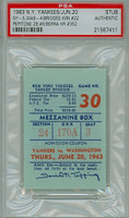 1963 New York Yankees Ticket Stub vs Washington Senators Yogi Berra Career HR #352 - June 20, 1963