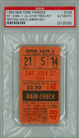 1963 New York Yankees Ticket Stub vs Minnesota Twins Harmon Killebrew Career HR #201 Tom Tresh Career HR #37  Joe Pepitone Career HR #24 - July 27, 1963 [Y63_Yank0727S_pa_14]