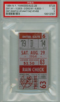 1964 New York Yankees Ticket Stub vs Boston Red Sox Mickey Mantle Career HR #447 Carl Yastrzemski Career HR #58  Doubleheader Sweep - August 29, 1964