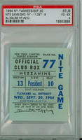 1964 New York Yankees Ticket Stub vs Detroit Tigers Al Kaline Career HR #232 - September 30, 1964