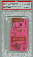 1964 New York Yankees Ticket Stub vs Baltimore Orioles Roger Maris Career HR #231 Robin Roberts Career Win #267  - August 9, 1964