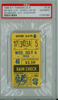 1966 New York Yankees Ticket Stub vs Boston Red Sox Carl Yastrzemski Career HR #87 Red Sox Doubleheader Sweep  - July 6, 1966