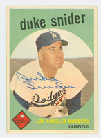 Duke Snider AUTOGRAPH d.11 1959 Topps #20 Dodgers CARD IS CLEAN EX