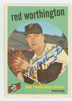 Red Worthington AUTOGRAPH 1959 Topps #28 Giants CARD IS VG