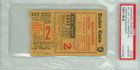 1943 World Series Cardinals at Yankees - Game 2 Ticket Stub HR Marty Marion SP Walker Cooper