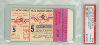 1952 World Series Dodgers at Yankees - Game 5 Ticket Stub BRK 6-5 (11) HR Duke Snider, Johnny Mize WP Carl Erskine [EXCELLENT] [Y52_SERIES525S_pa_51]