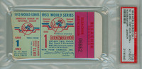 1953 World Series Dodgers at Yankees - Game 1 Ticket Stub NY 9-5 WP Johnny Sain HR Yogi Berra, Gil Hodges [Fair-Good] [Y53_SERIES531S_pa_bl]