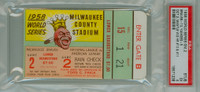 1958 World Series Yankees at Braves - Game 2 Ticket Stub MIL 13-5 HR Mickey Mantle 2 HRs #10 - #11