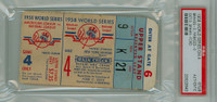 1958 World Series Braves at Yankees - Game 4 Ticket Stub MIL 3-0 WP Warren Spahn 2 HIT SHUTOUT, LP Whitey Ford [G-VG] [Y58_SERIES584S_pa_21]