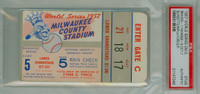 1957 World Series Braves at Yankees - Game 5 Ticket Stub MIL 1-0 WP Lew Burdette CG Shutout LP Whitey Ford [EXCELLENT] [Y57_SERIES575S_pa_17]