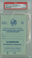 1978 AL Championship - Yankees vs Royals GM 4 Clubhouse Pass - NY 2-1 WP Guidry HR Nettles, White Yankees Clinch Pennant PSA 5