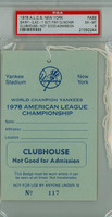 1978 AL Championship - Yankees vs Royals GM 4 Clubhouse Pass - NY 2-1 WP Guidry HR Nettles, White Yankees Clinch Pennant PSA 6