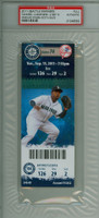 2011 Seattle Mariners Full Ticket vs New York Yankees Mariano Rivera Career Save #600 - September 13, 2011 PSA AUTH