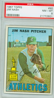 1967 Topps Baseball 90 Jim Nash Kansas City Athletics PSA 8 Near Mint to Mint