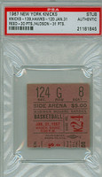 1967 New York Knicks Ticket Stub vs St. Louis Hawks Willis Reed scored 30 points Lou Hudson had 31 points  - January 31, 1967 PSA/DNA Authentic