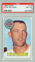 1969 Topps Baseball 118 Stan Williams Cleveland Indians PSA 8 Near Mint to Mint