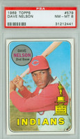 1969 Topps Baseball 579 Dave Nelson Cleveland Indians PSA 8 Near Mint to Mint
