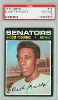 1971 Topps Baseball 11 Elliott Maddox Washington Senators PSA 8 Near Mint to Mint